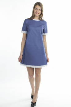 Синее платье с кружевной окантовкой Bast